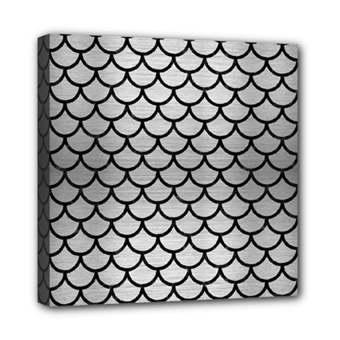 Scales1 Black Marble & Silver Brushed Metal (r) Mini Canvas 8  X 8  (stretched)