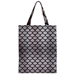 Scales1 Black Marble & Silver Brushed Metal (r) Zipper Classic Tote Bag