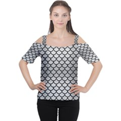 Scales1 Black Marble & Silver Brushed Metal (r) Cutout Shoulder Tee