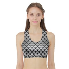 Scales1 Black Marble & Silver Brushed Metal (r) Sports Bra With Border