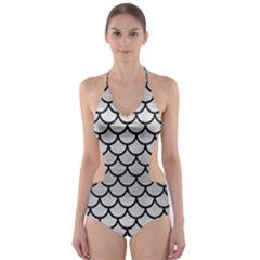 SCA1 BK MARBLE SILVER (R) Cut-Out One Piece Swimsuit