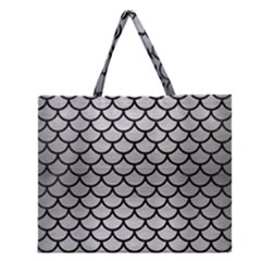 Scales1 Black Marble & Silver Brushed Metal (r) Zipper Large Tote Bag