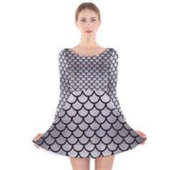 SCA1 BK MARBLE SILVER (R) Long Sleeve Velvet Skater Dress