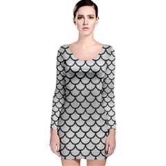 SCA1 BK MARBLE SILVER (R) Long Sleeve Velvet Bodycon Dress
