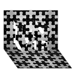 Puzzle1 Black Marble & Silver Brushed Metal Love 3d Greeting Card (7x5)