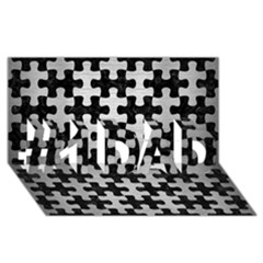 Puzzle1 Black Marble & Silver Brushed Metal #1 Dad 3d Greeting Card (8x4)