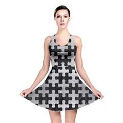 Puzzle1 Black Marble & Silver Brushed Metal Reversible Skater Dress