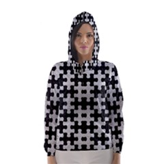 Puzzle1 Black Marble & Silver Brushed Metal Hooded Wind Breaker (women)