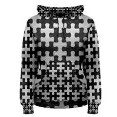 Puzzle1 Black Marble & Silver Brushed Metal Women s Pullover Hoodie