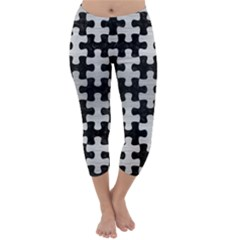 PUZ1 BK MARBLE SILVER Capri Winter Leggings