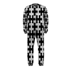 Puzzle1 Black Marble & Silver Brushed Metal Onepiece Jumpsuit (kids)