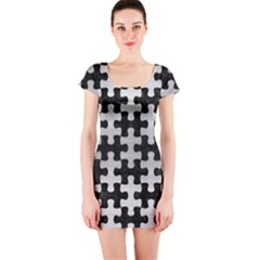 Puzzle1 Black Marble & Silver Brushed Metal Short Sleeve Bodycon Dress