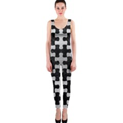 Puzzle1 Black Marble & Silver Brushed Metal Onepiece Catsuit