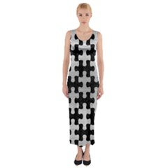 PUZ1 BK MARBLE SILVER Fitted Maxi Dress