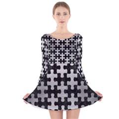 PUZ1 BK MARBLE SILVER Long Sleeve Velvet Skater Dress