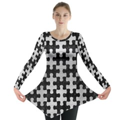 Puzzle1 Black Marble & Silver Brushed Metal Long Sleeve Tunic
