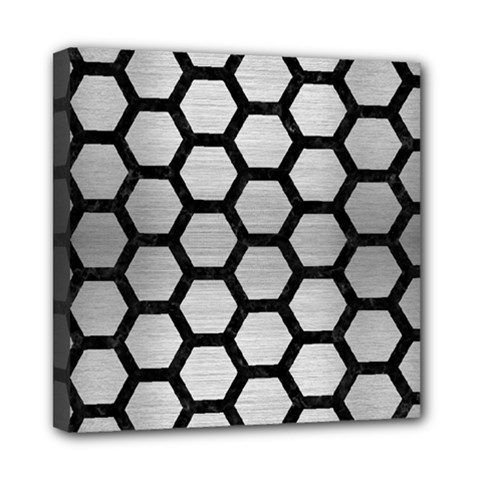 Hexagon2 Black Marble & Silver Brushed Metal (r) Mini Canvas 8  X 8  (stretched)