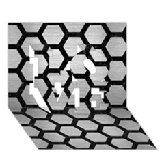 Hexagon2 Black Marble & Silver Brushed Metal (r) Love 3d Greeting Card (7x5)