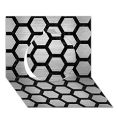 Hexagon2 Black Marble & Silver Brushed Metal (r) Circle 3d Greeting Card (7x5)