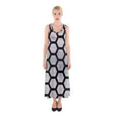 Hexagon2 Black Marble & Silver Brushed Metal (r) Sleeveless Maxi Dress
