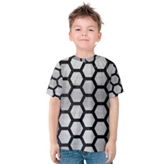 Hexagon2 Black Marble & Silver Brushed Metal (r) Kids  Cotton Tee