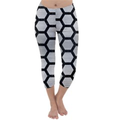 HXG2 BK MARBLE SILVER (R) Capri Winter Leggings