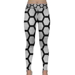 Hexagon2 Black Marble & Silver Brushed Metal (r) Classic Yoga Leggings