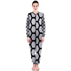 Hexagon2 Black Marble & Silver Brushed Metal (r) Onepiece Jumpsuit (ladies)