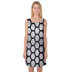 Hexagon2 Black Marble & Silver Brushed Metal (r) Sleeveless Satin Nightdress