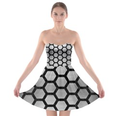 Hexagon2 Black Marble & Silver Brushed Metal (r) Strapless Bra Top Dress