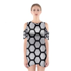 HXG2 BK MARBLE SILVER (R) Cutout Shoulder Dress