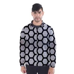 Hexagon2 Black Marble & Silver Brushed Metal (r) Wind Breaker (men)