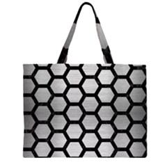 HXG2 BK MARBLE SILVER (R) Large Tote Bag