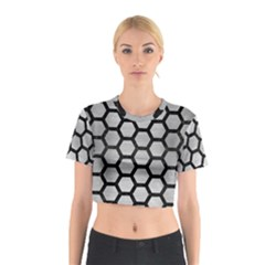 Hexagon2 Black Marble & Silver Brushed Metal (r) Cotton Crop Top
