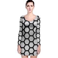 HXG2 BK MARBLE SILVER (R) Long Sleeve Velvet Bodycon Dress