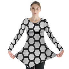 Hexagon2 Black Marble & Silver Brushed Metal (r) Long Sleeve Tunic