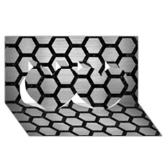 Hexagon2 Black Marble & Silver Brushed Metal Twin Hearts 3d Greeting Card (8x4)
