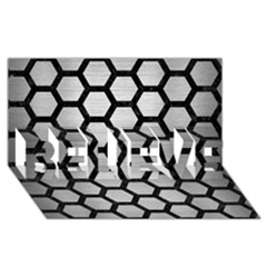 Hexagon2 Black Marble & Silver Brushed Metal Believe 3d Greeting Card (8x4)