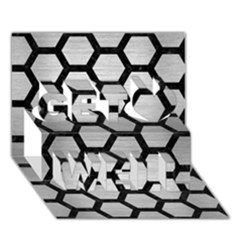 Hexagon2 Black Marble & Silver Brushed Metal Get Well 3d Greeting Card (7x5)