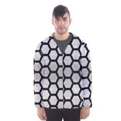 Hexagon2 Black Marble & Silver Brushed Metal Hooded Wind Breaker (men)