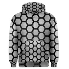 Hexagon2 Black Marble & Silver Brushed Metal Men s Zipper Hoodie