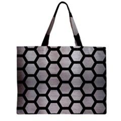 Hexagon2 Black Marble & Silver Brushed Metal Zipper Mini Tote Bag