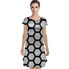 Hexagon2 Black Marble & Silver Brushed Metal Cap Sleeve Nightdress