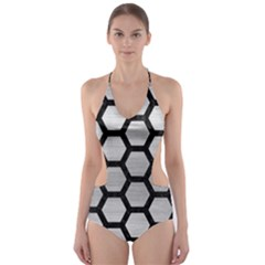 HXG2 BK MARBLE SILVER Cut-Out One Piece Swimsuit