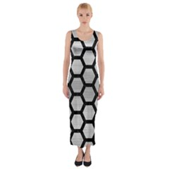 Hexagon2 Black Marble & Silver Brushed Metal Fitted Maxi Dress
