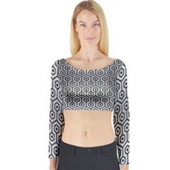 Hexagon1 Black Marble & Silver Brushed Metal (r) Long Sleeve Crop Top (tight Fit)