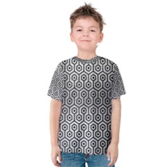 Hexagon1 Black Marble & Silver Brushed Metal (r) Kids  Cotton Tee