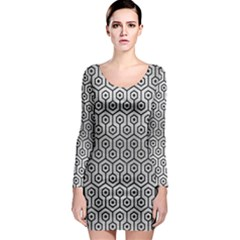 Hexagon1 Black Marble & Silver Brushed Metal (r) Long Sleeve Bodycon Dress