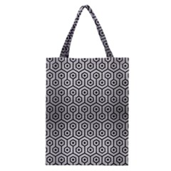 Hexagon1 Black Marble & Silver Brushed Metal (r) Classic Tote Bag