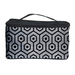 Hexagon1 Black Marble & Silver Brushed Metal (r) Cosmetic Storage Case